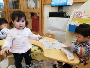 新聞紙遊び♪(鶴見)