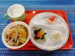 今日の給食:みそ野菜ラーメン(本園)