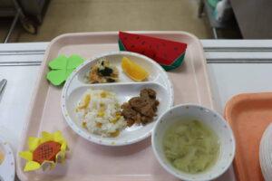 今日の給食☆焼とうもろこしごはん☆(わかば)